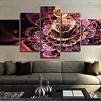 WZYWLH 5ピースキャンバスアート発光赤い花Cuadros decoracion絵画キャンバスの壁アート家の装飾のための壁の装飾アートワーク
