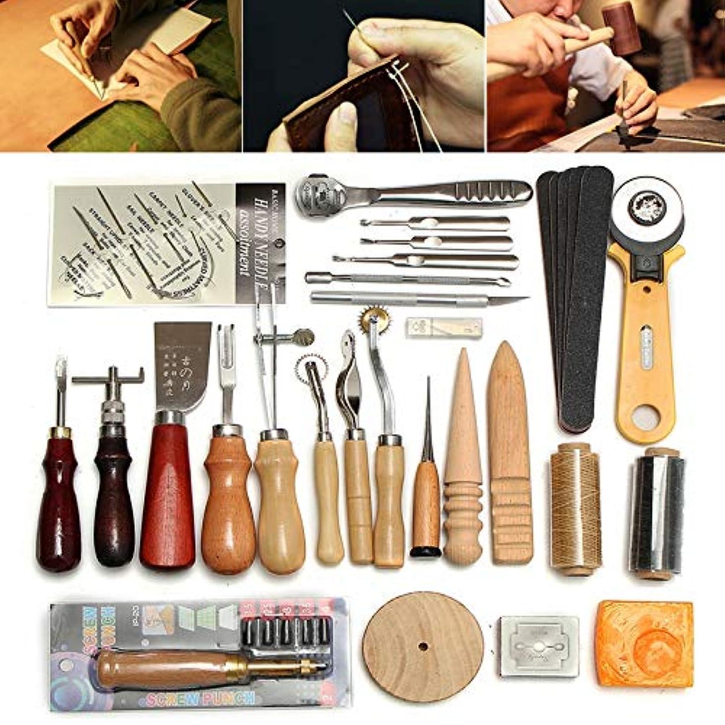 ブルーベル責めるオーバーランレザークラフト 縫い道具37点セット Moomai レザーツール 革工具セット 革細工 DIY 道具 手作り ハンドメイド 縫製キット 初心者 キット 皮革用具 裁縫用具 手つくり