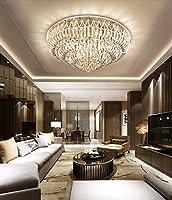 Yueyang 家庭用照明 ホテルリビングルームヴィラLED3輝度K9クリスタルクロムめっき ミラーステンレス鋼クリスタルランプシャンデリアシーリングライトLED付きそしてリモートコントロール