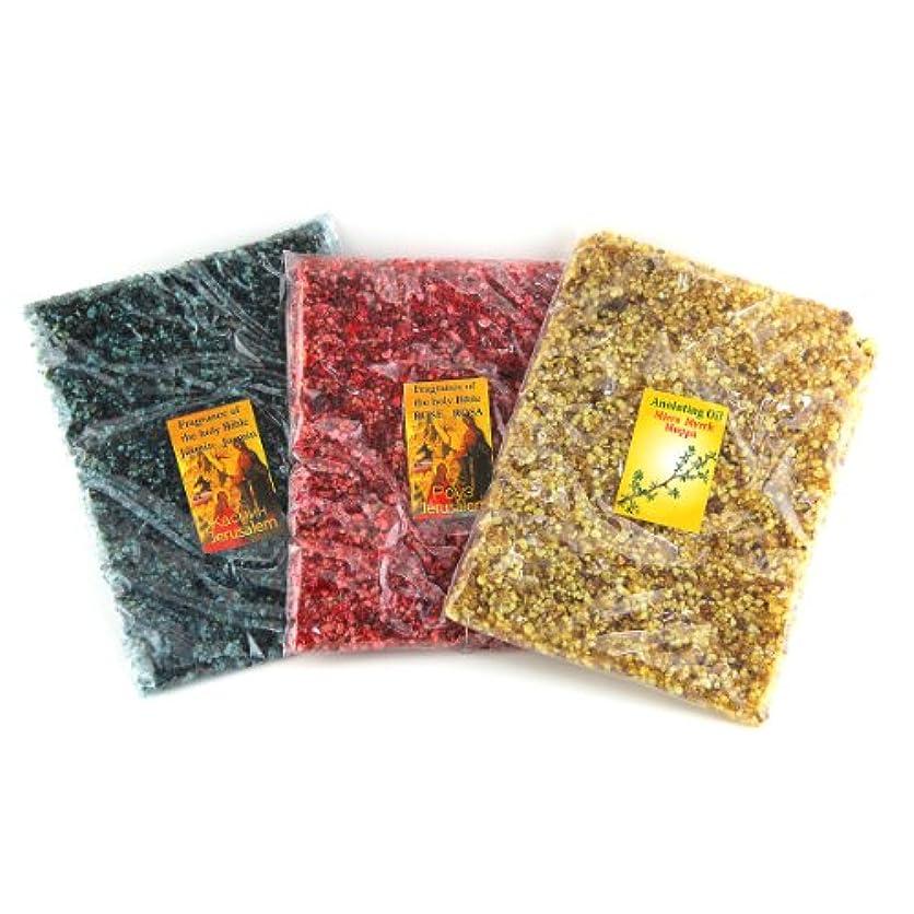 ささやき法律バンケット3 in 1 Set of Holy Land Incenseバッグジャスミン、Myrrh、ローズ香り100 %天然本物のエルサレムFragrance