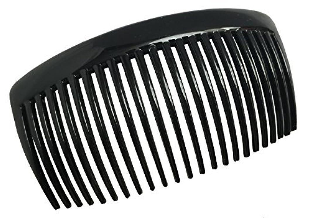 除去赤項目Parcelona French Large 2 Pieces Glossy Black Cellulose Acetate Good Grip Updo 23 Teeth Hair Side Combs 4.25 Inches...