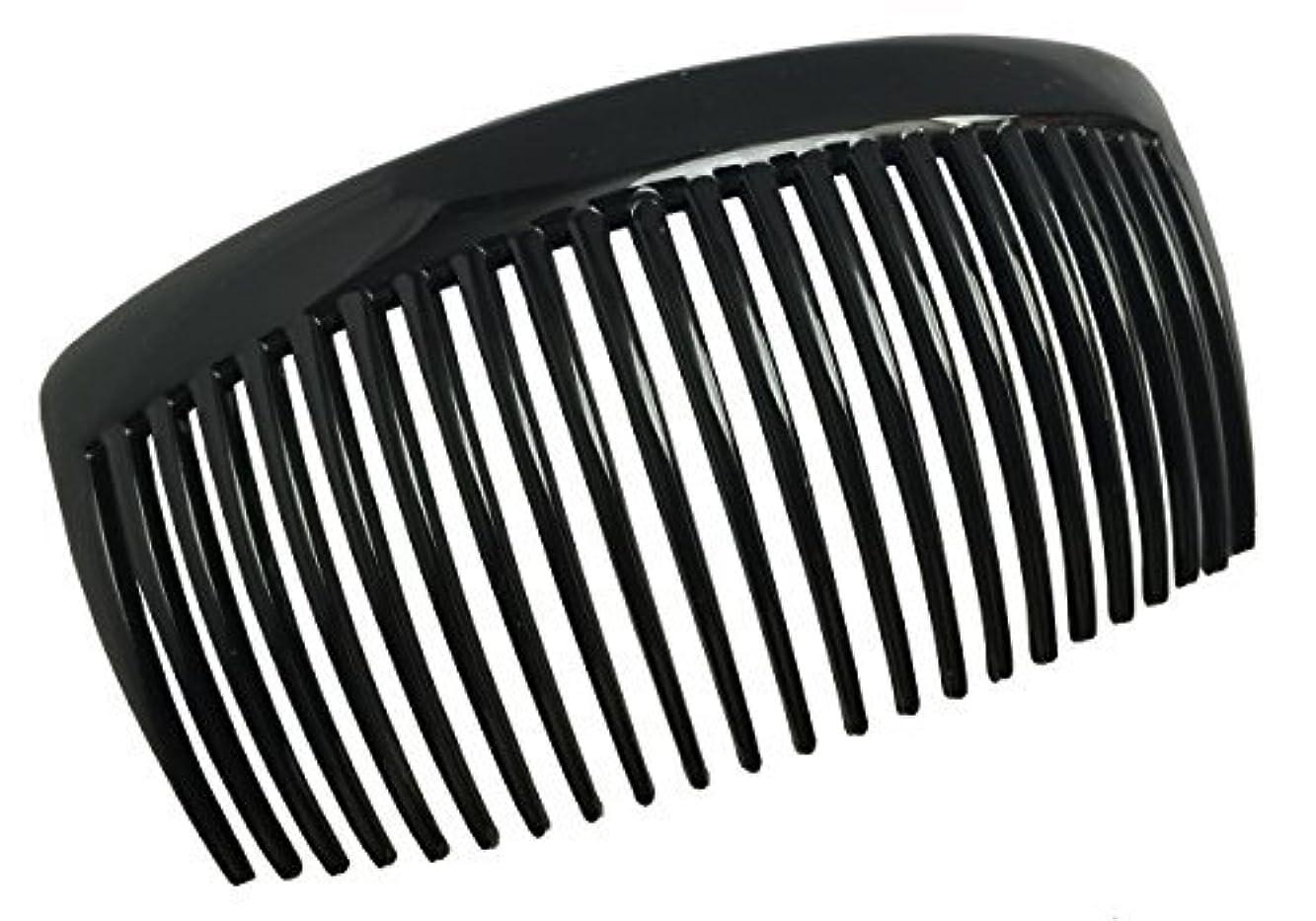 農学欺田舎Parcelona French Large 2 Pieces Glossy Black Cellulose Acetate Good Grip Updo 23 Teeth Hair Side Combs 4.25 Inches...