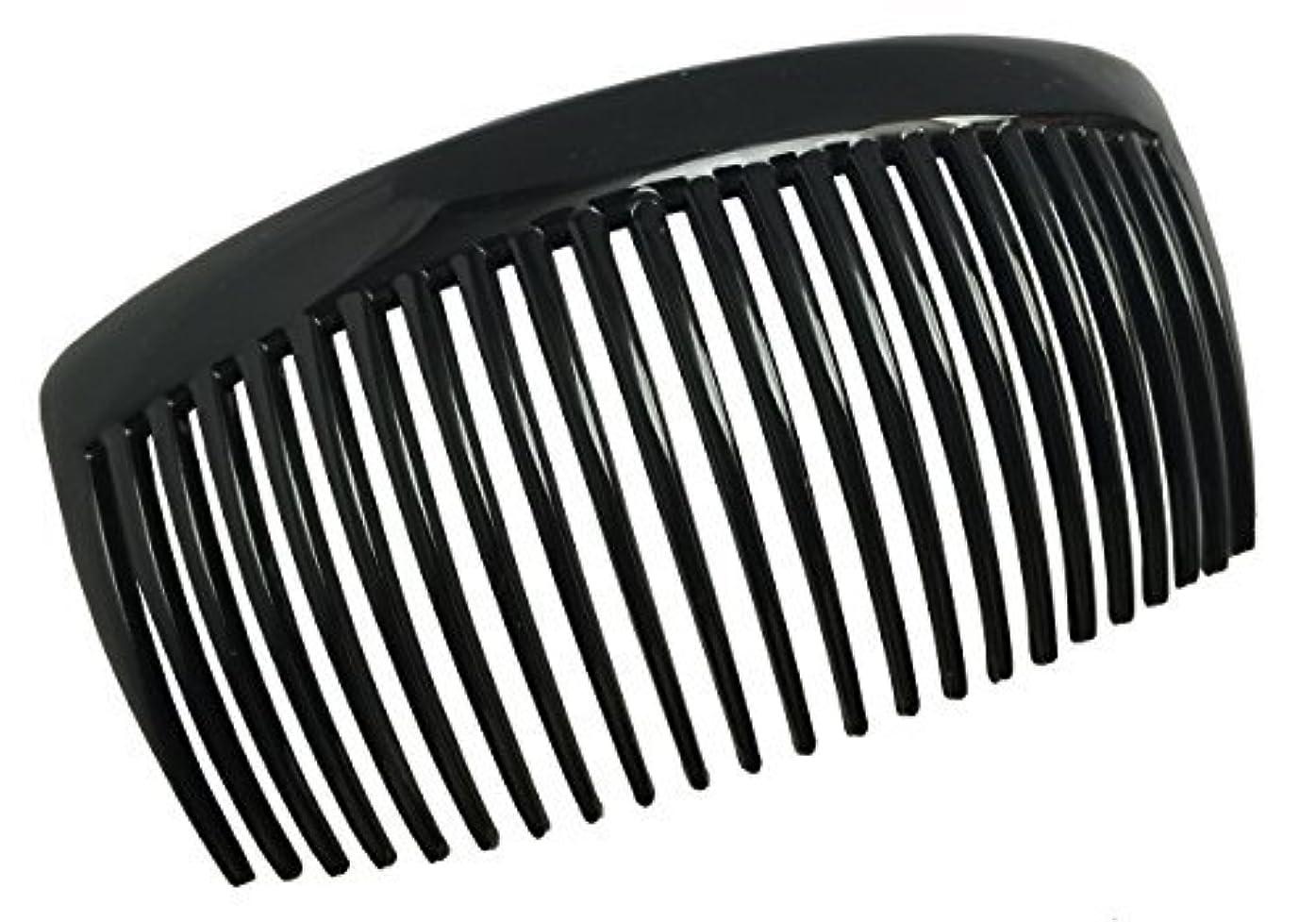 保安人生を作る倍増Parcelona French Large 2 Pieces Glossy Black Cellulose Acetate Good Grip Updo 23 Teeth Hair Side Combs 4.25 Inches...