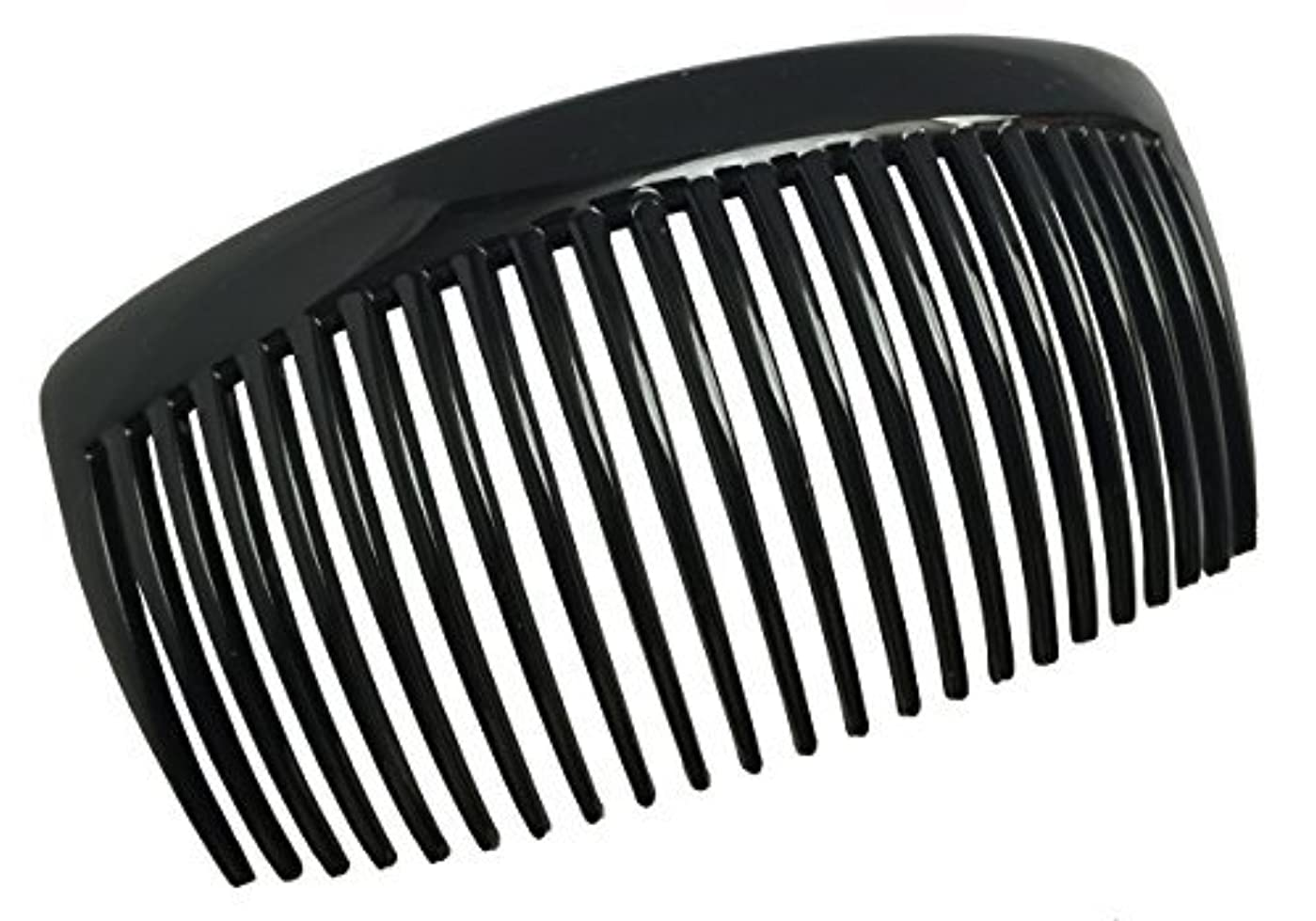 Parcelona French Large 2 Pieces Glossy Black Cellulose Acetate Good Grip Updo 23 Teeth Hair Side Combs 4.25 Inches...