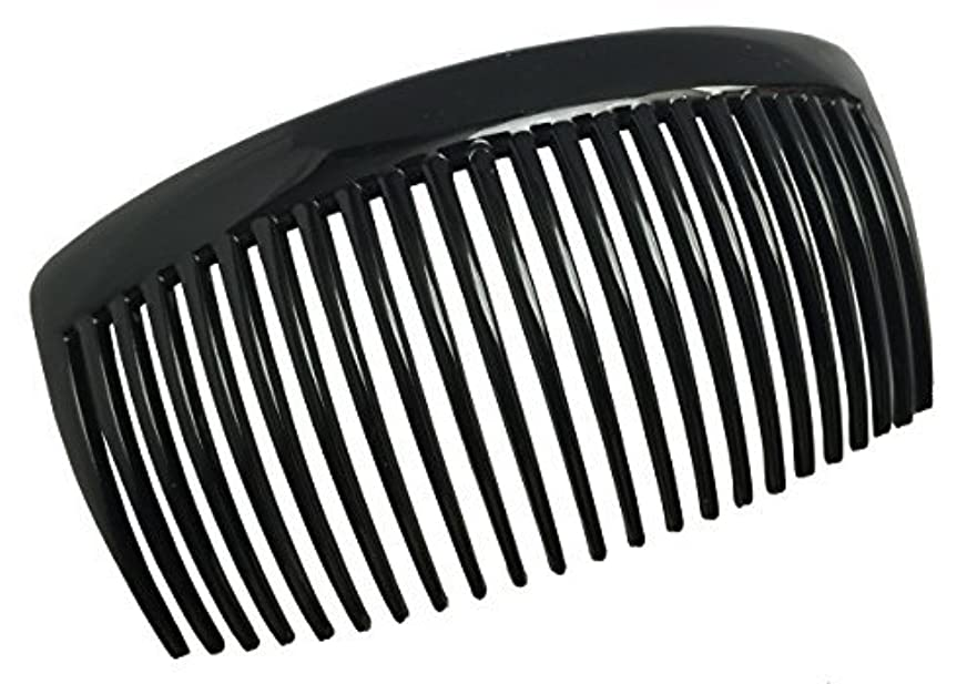 不健全リーダーシップ陰気Parcelona French Large 2 Pieces Glossy Black Cellulose Acetate Good Grip Updo 23 Teeth Hair Side Combs 4.25 Inches...
