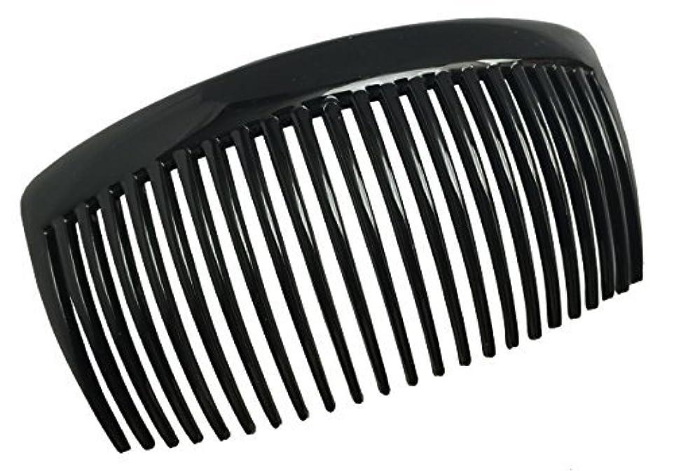 出版役立つ狂人Parcelona French Large 2 Pieces Glossy Black Cellulose Acetate Good Grip Updo 23 Teeth Hair Side Combs 4.25 Inches...