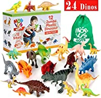 24 Most-Realistic Looking Dinosaur Toys - 12 Jumbo Plus 12 Small Toy Dinosaur Plastic Figures for Kids - Dinosaurs Gifts for Boys and Girls with Gift Box and a Large Storage Bag Bonus [並行輸入品]