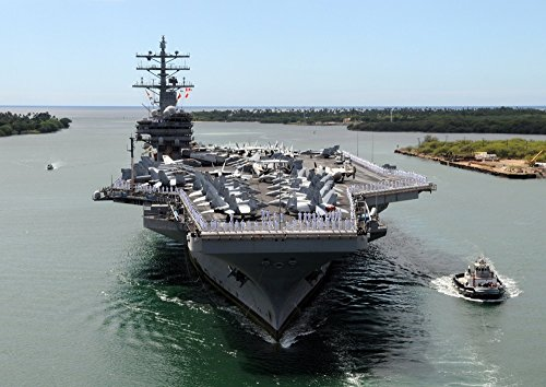 絵画風 壁紙ポスター (はがせるシール式) 空母 ロナルド・レーガン USS 真珠湾 ハワイ アメリカ 海軍 航空母艦 ミリタリー キャラクロ UNAC-003A1 (A1版 830mm×585mm) 建築用壁紙+耐候性塗料