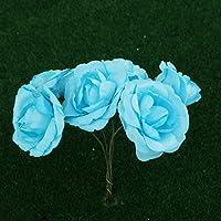B Blesiya 144個 ミニ ペーパー 花 人工 ローズ DIY クラフト 結婚式 装飾 ブルー