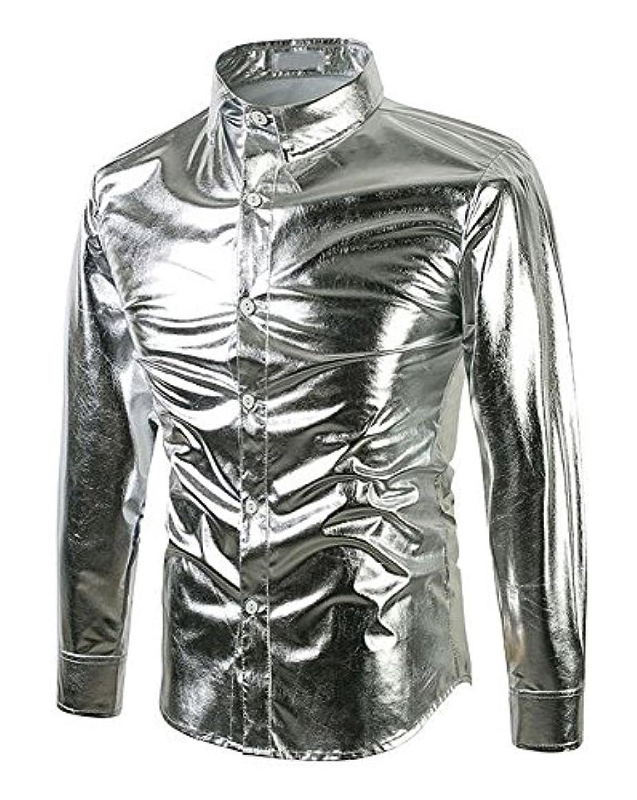 糞店員アーサーコナンドイルメタリック サテンシャツ ドレスシャツ メンズ 無地 光沢 ダンス マジシャン ステージ 衣装