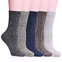 MIUBEAR 5 Pack Womens Winter Soft Warm Comfort Wool Cable Knitting Fuzzy Crew Socks
