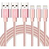 SGIN ライトニング ケーブル 【3本セット1M】Lightning ケーブル USB 高耐久編み iphone 充電ケーブル 急速充電 コンパクト端子 iPhone X,8,8 Plus,7,7 Plus,6,6s,6s Plus,6 Plus,5,5S,SE,iPad Air,Mini - ピンク