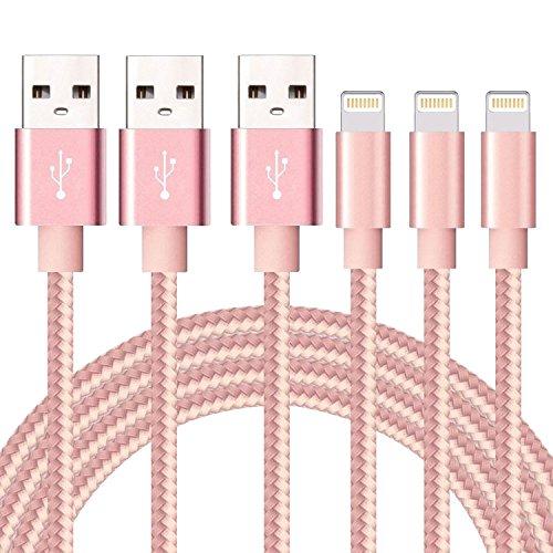 SGIN ライトニング ケーブル 【3本セット2M】Lightning ケーブル USB 高耐久編み iphone 充電ケーブル 急速充電 コンパクト端子 iPhone X,8,8 Plus,7,7 Plus,6,6s,6s Plus,6 Plus,5,5S,SE,iPad Air,Mini - ピンク