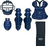ゼット(ZETT) 少年野球 軟式 キャッチャー用防具 4点セット ネイビー290) 日本製 専用袋付き BL7520
