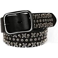 Leather Belt Hip-hop Men and Women Belt Punk Style Belt for Jeans, Skull Rivet (Color : Black, Size : 120cm)