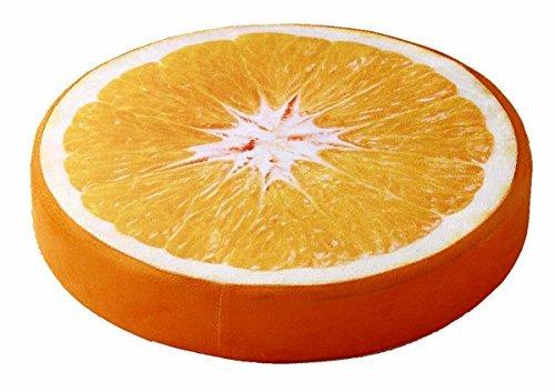 ふわふわ かわいい フルーツ クッション 直径38×6.5cm オレンジ