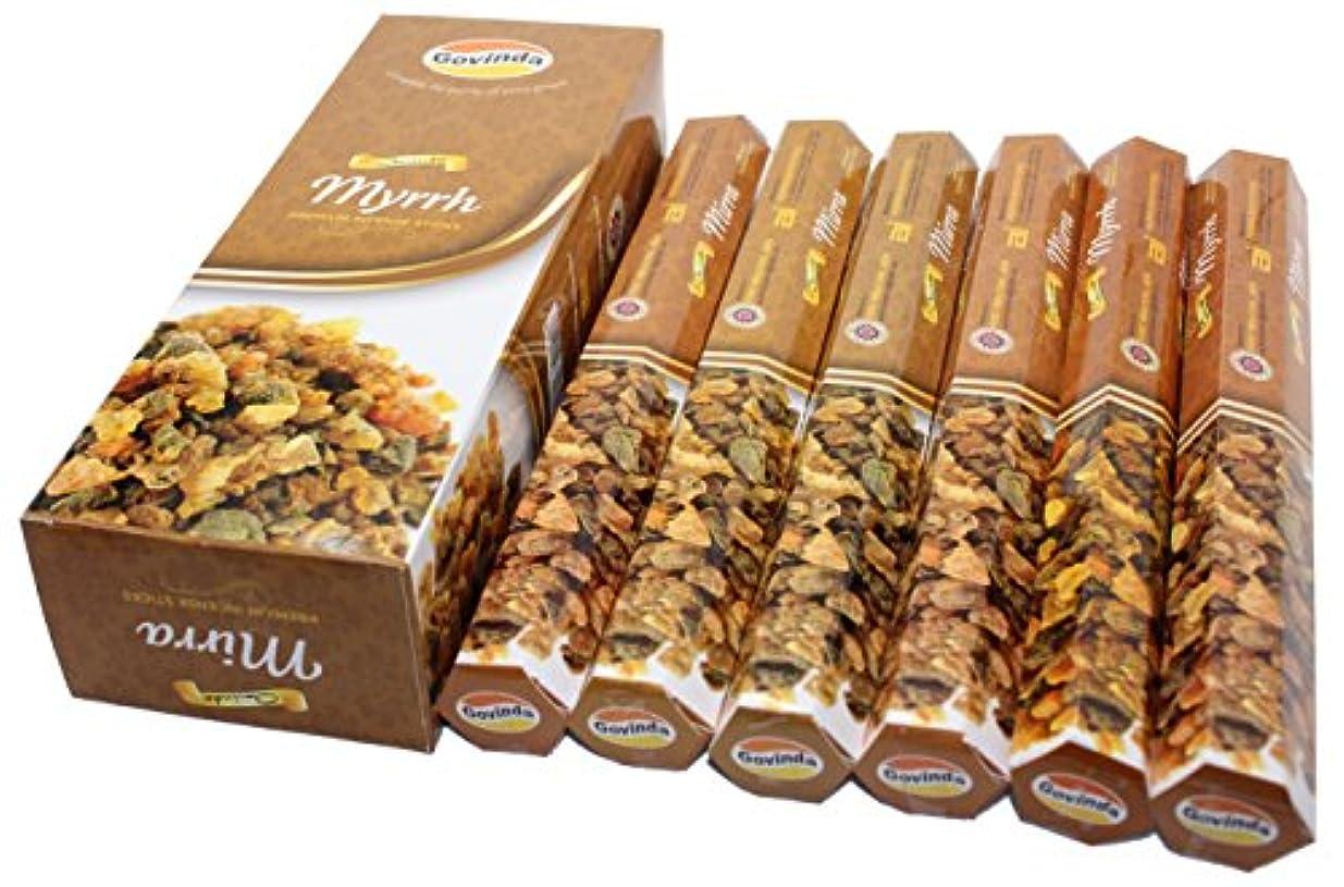接ぎ木チケット下位Govinda Incense – Myrrh – 120 Incense Sticks、プレミアムIncense、Masalaコーティング