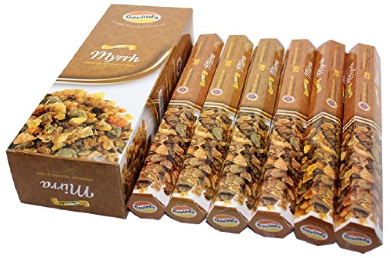 誘惑保証誠実Govinda Incense – Myrrh – 120 Incense Sticks、プレミアムIncense、Masalaコーティング