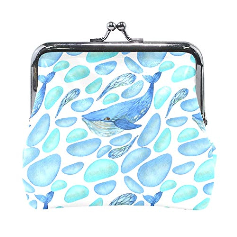 AOMOKI 財布 小銭入れ ガマ口 コインケース レディース メンズ レザー 丸形 おしゃれ プレゼント ギフト デザイン オリジナル 小物ケース クジラ 鯨 ブルー かわいい