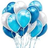 しあわせ倉庫 鮮やか3色 風船 バルーン 100個 空気入れ リボンセット 誕生日 結婚式 パーティー 飾り (ブルー)