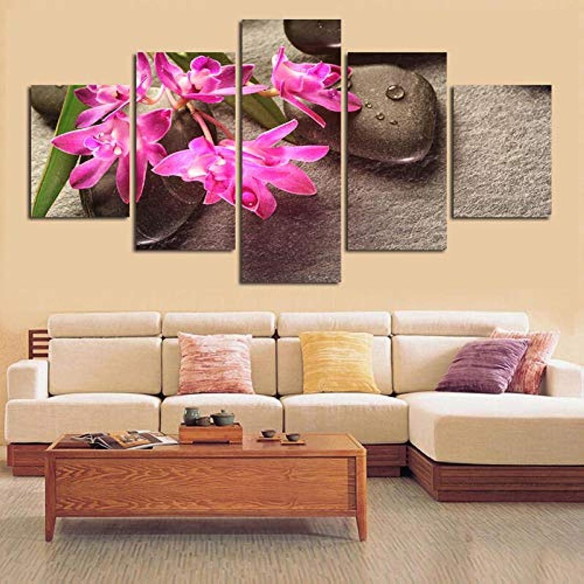 レイ巻き取りする必要があるOjilkt ファッション ピンク蘭石禅背景画像キャンバスペイントハウスホームデコレーションアート壁に-Size1-フレーム