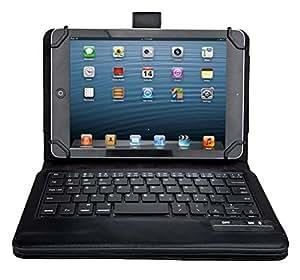 9 - 10 インチ タブレット キーボード ケース【KuGi】 au Qua tab PZ 10.1インチ 対応 Bluetooth キーボード ケース スタンド機能カバー ワイヤレス 一体型 脱着式 手帳型 PUレザーケース付き 電池内蔵 持ち運び便利 無線キーボード au Qua tab PZ 10.1インチ など 9 - 10.1 インチ Tablet 対応 ブラック