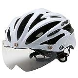 GVR G-307V サイクルヘルメット JCF公認 01 ソリッド/ホワイト 54-60cm クリアシールド付 G-307V