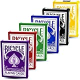 Magic Makers Bicycle Reverse Back Decks Combo Pack - Red, Black, Yellow, Blue, Purple, and Green Decks - Gaff Cards Included in Each Deck