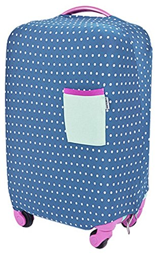 バッグをキズから保護 スーツケース 水玉 カバー   ( 伸縮素材 弾性保護スリーブ  ) (ネイビー L)