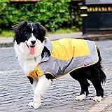Umora 犬用レインコート カッパ 雨具 通気 帽子付 散歩用 小型犬 中型犬 大型犬(オレンジ+グレー L)