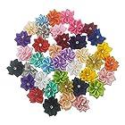 手芸用ビジュー パーツ付きフラワーモチーフ 手芸用のお花のモチーフ 40個入 2.5cm×3.0cm サテンフラワーモチーフ クラフト DIYの縫製 素材