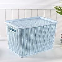 YI LU Deng JU- プラスチック製の収納ボックス、籐製の収納バスケット、おもちゃの衣類収納用バスケット、デスクトップ化粧品の仕上げ用ボックス、収納ボックス (色 : Blue, サイズ さいず : 28.5 * 19.5 * 14 cm)