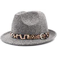 Hats Fashionable Hat, Felt Jazz Fedora Hat for Elegant Lady Cashmere Trilby Fedora Jazz Hat with Leopard Belt (Color : Grey, Size : 57-58 cm)
