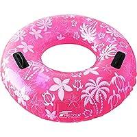 FIELDOOR 便利な持ち手付き ジャンボ 浮き輪 大きい うきわ 直径105cm ピンク (ヤシの木柄) 大人用