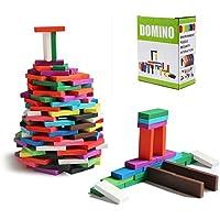 ドミノ 倒し 木製積み木 立体パズル 出産祝い 子供おもちゃ プレゼント 12色×20個=240個 収納袋付き 16×13×7cm