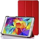 GALAXY Tab S 8.4 スマートカバーケース ( docomo SC-03G / サムスン ギャラクシータブ エス 8.4 Android タブレット 対応 ) フラップマグネット内蔵型 / スリム軽量 / 三つ折りスタンド機能 / PUレザー&PCハード素材 Smart Cover Case【High quality Red (赤)】…