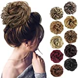 MORICA 1PCS Messy Hair Bun Hair Scrunchies Extension Curly Wavy Messy Synthetic Chignon for women Updo Hairpiece(Color:12/24#)