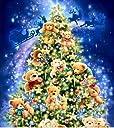クロスステッチ刺繍キット DMC糸 布地に図柄印刷 クリスマスツリーベアー
