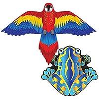 MicroKite 2 Pack, set of 2 Mini Mylar Kites, Macaw and Frog