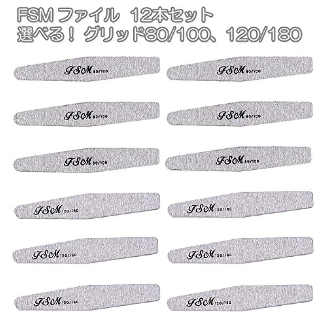 かけがえのないに対して電話FSM ネイルファイル/バッファー12本セット(選べる!グリッド80/100、120/180) (G80/100の12本)