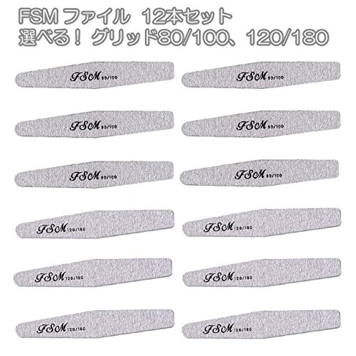 FSM ネイルファイル/バッファー12本セット(選べる!グリッド80/100、120/180) (G80/100の12本)