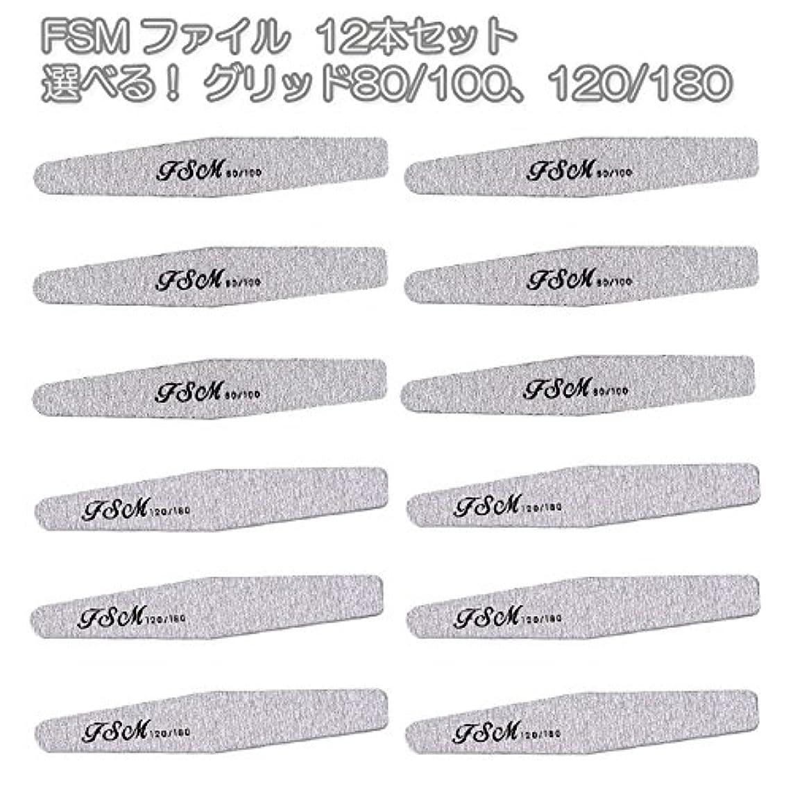 FSM ネイルファイル/バッファー12本セット(選べる!グリッド80/100、120/180) (G80/100の6本+G120/180の6本)