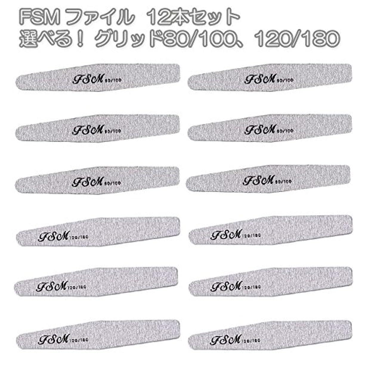 血色の良い拍車窒素FSM ネイルファイル/バッファー12本セット(選べる!グリッド80/100、120/180) (G80/100の12本)