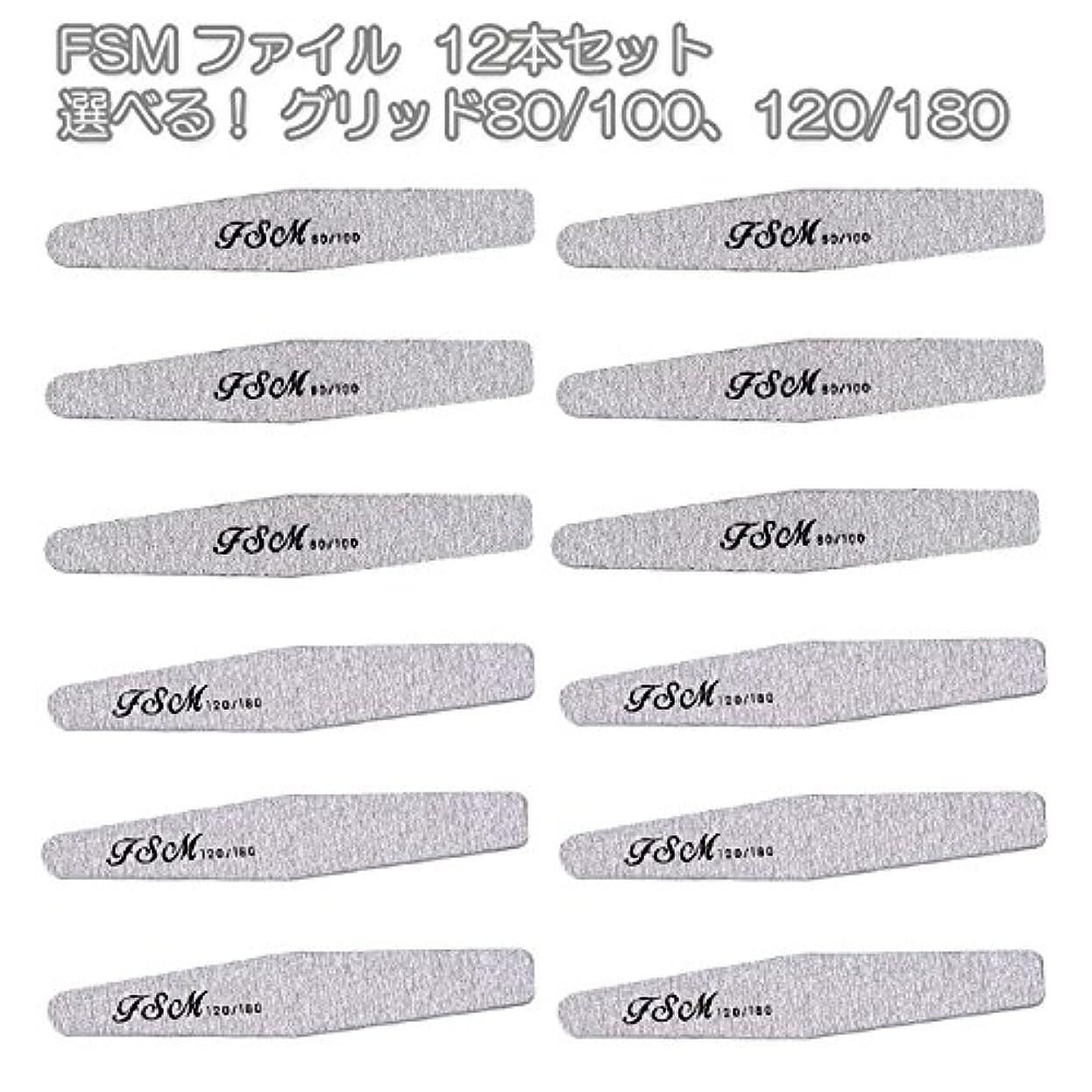 艶有限ダイジェストFSM ネイルファイル/バッファー12本セット(選べる!グリッド80/100、120/180) (G80/100の12本)