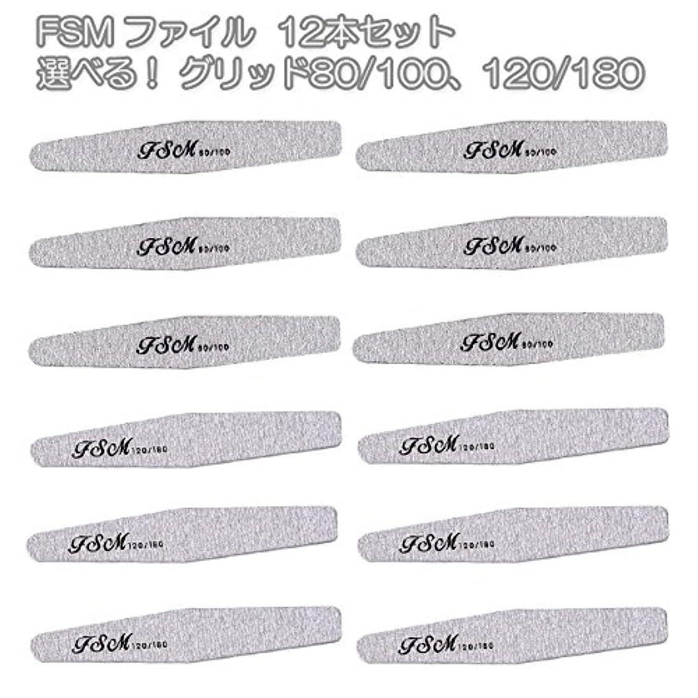 一時解雇する脆い桃FSM ネイルファイル/バッファー12本セット(選べる!グリッド80/100、120/180) (G80/100の12本)