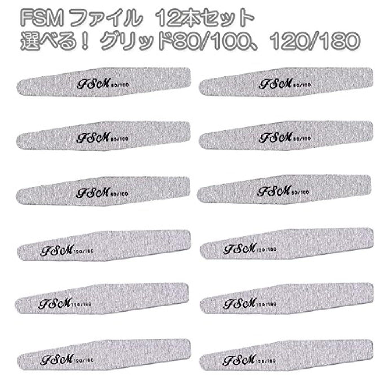 オーバードローオーバーラン素朴なFSM ネイルファイル/バッファー12本セット(選べる!グリッド80/100、120/180) (G120/180の12本)