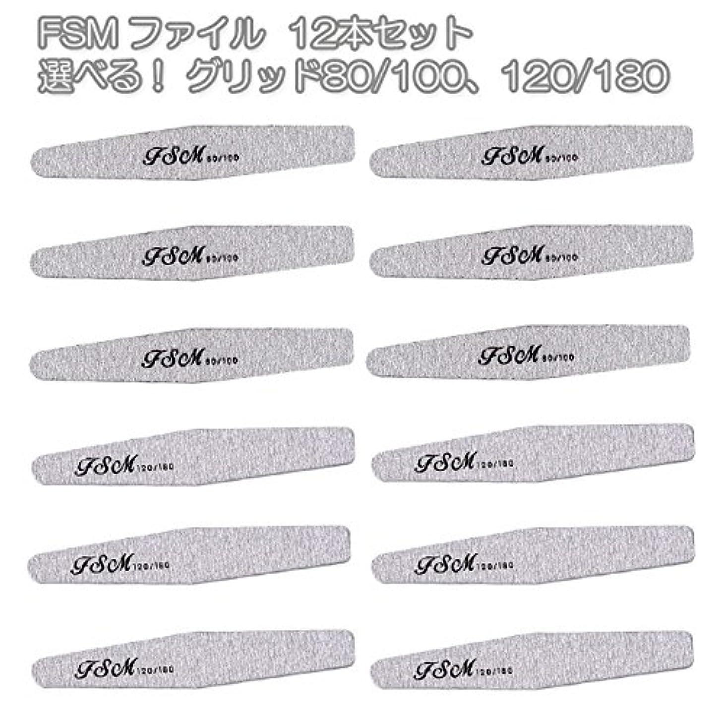 黒板音声学人生を作るFSM ネイルファイル/バッファー12本セット(選べる!グリッド80/100、120/180) (G80/100の12本)