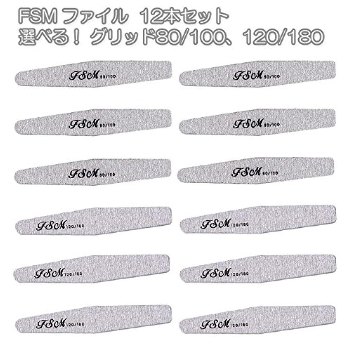 不安定アーサー開発FSM ネイルファイル/バッファー12本セット(選べる!グリッド80/100、120/180) (G80/100の12本)