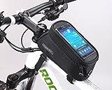 eCiclico(エーチクリコ) 自転車 フレームバッグ 5.5インチ スマホ ケース 小物収納 防水 全5色 (ブラック)