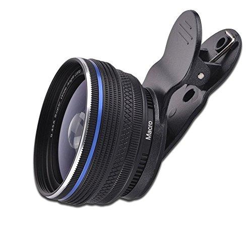 Ealona スマホレンズ 2in1 (15Xマクロ、125°0.45広角レンズ)広角レンズ クリップ式 iPhone、Samsung、Sony、Android などスマホ対応